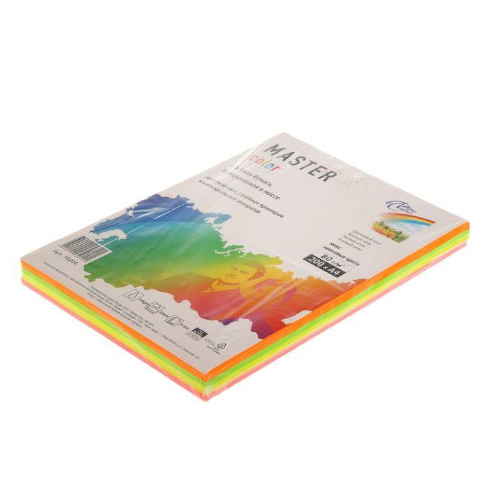 Бумага цветная А4, 200 листов Mix neon, ассорти 4 цвета по 50 листов, 80г/м