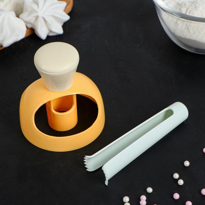 Набор для изготовления пончиков с щипцами «Ваниль», 11×2 см