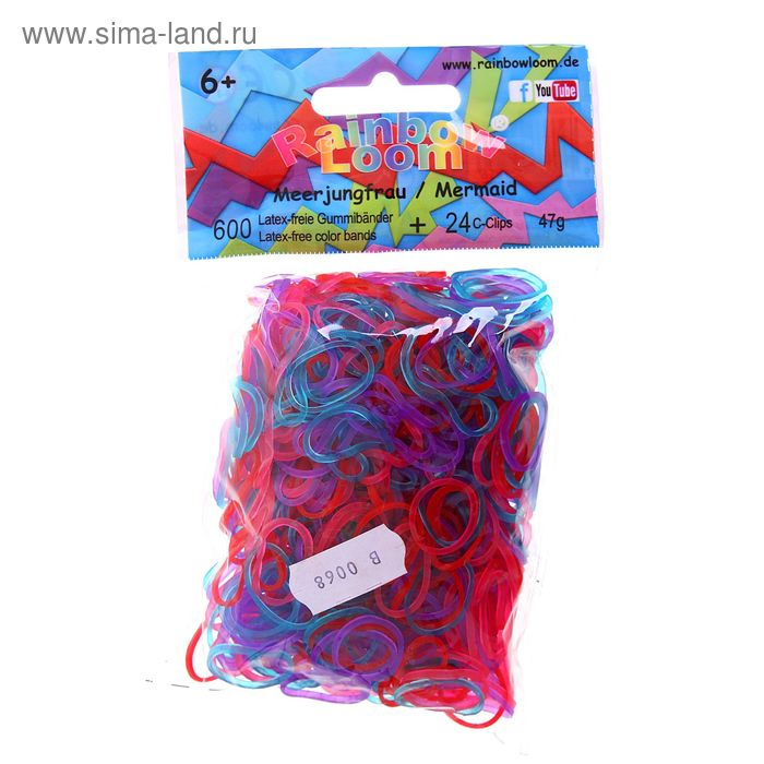 Резиночки для плетения силиконовые, мармелад, набор 600 шт., крепления, 24 шт.