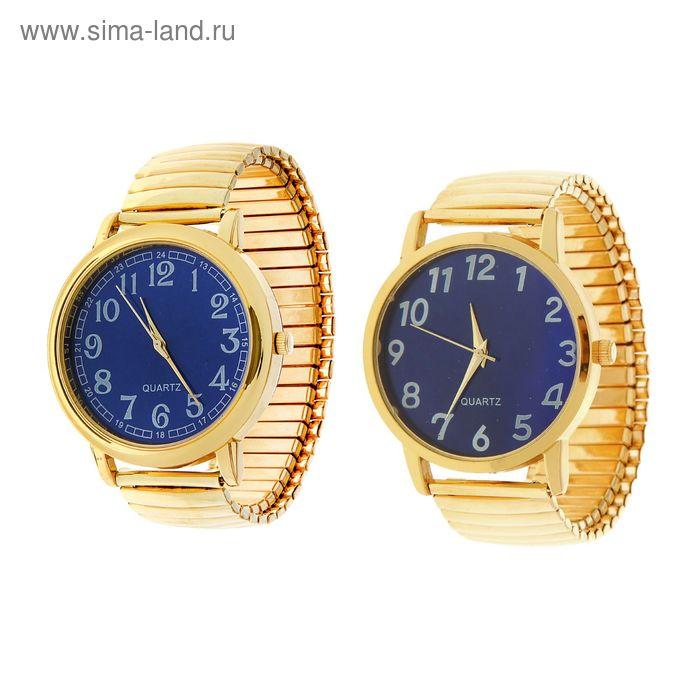 Часы наручные мужские, синий циферблат микс, на браслете-резинке