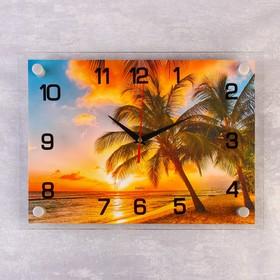 "Часы настенные, серия: Природа, ""Пальмы на закате"", 25х35  см, микс"