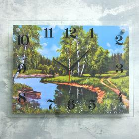"""Часы настенные, серия: Природа, """"Лодка на реке"""", 35х45  см, микс"""