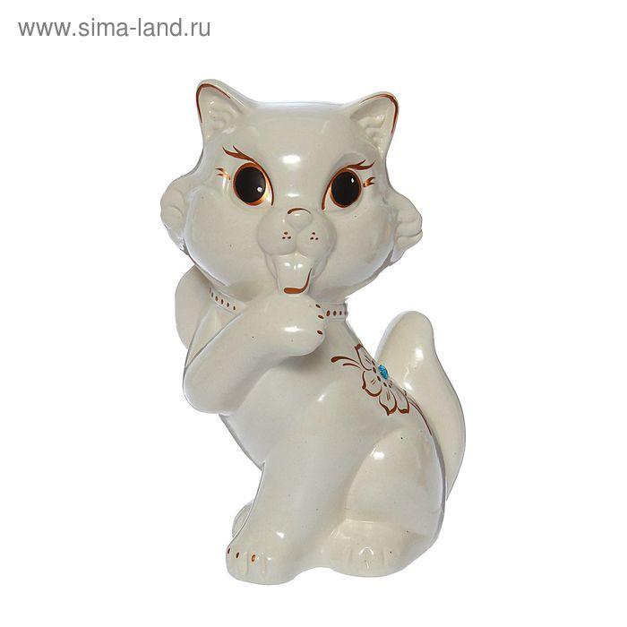 """Копилка """"Кошка с бантом"""" глянец, белая"""