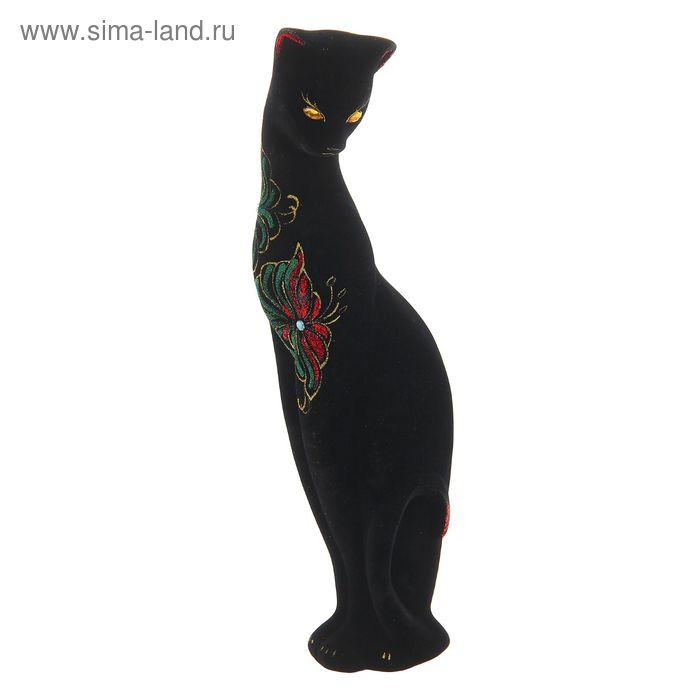 """Копилка """"Кошка Багира"""" средняя, флок, чёрная, стразы"""