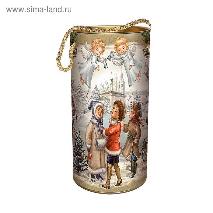 """Подарочная коробка, тубус """"Рождественские колокольчики"""" 12х22 см"""