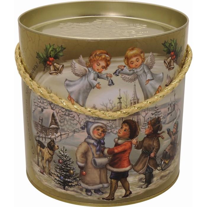 """Подарочная коробка, тубус """"Рождественские колокольчики"""" 12х12 см"""