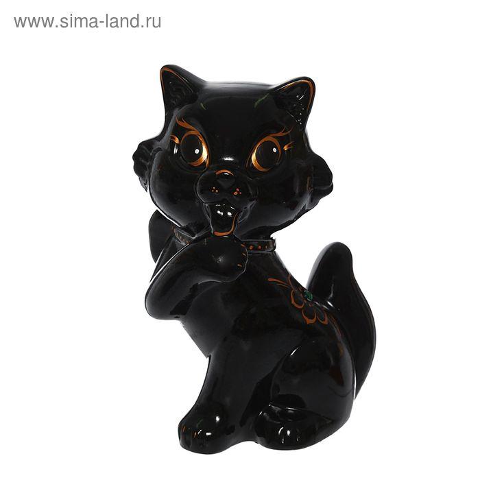 """Копилка """"Кошка с бантом"""" глянец, чёрная"""