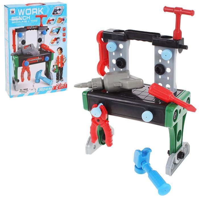 """Игровой стол """"Юный слесарь"""", с инструментами, 2 в 1, 36 предметов"""