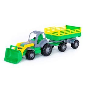 Трактор «Крепыш», с прицепом №2 и ковшом, цвета МИКС