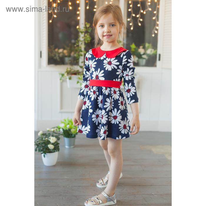 """Платье """"Осенний блюз"""", рост 110 см (56), цвет ромашки на темно-синем"""