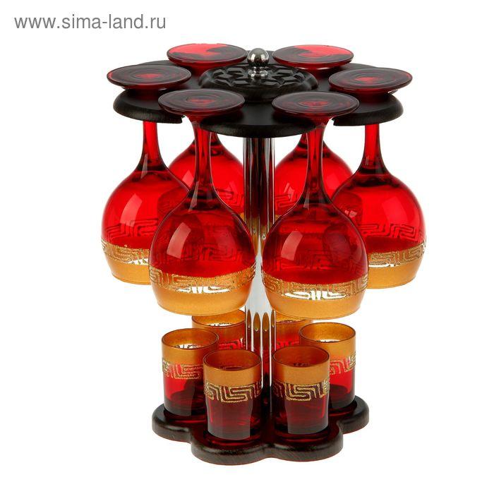 """Мини-бар """"Верс"""" 12 предметов, под вино, золотисто-красный"""