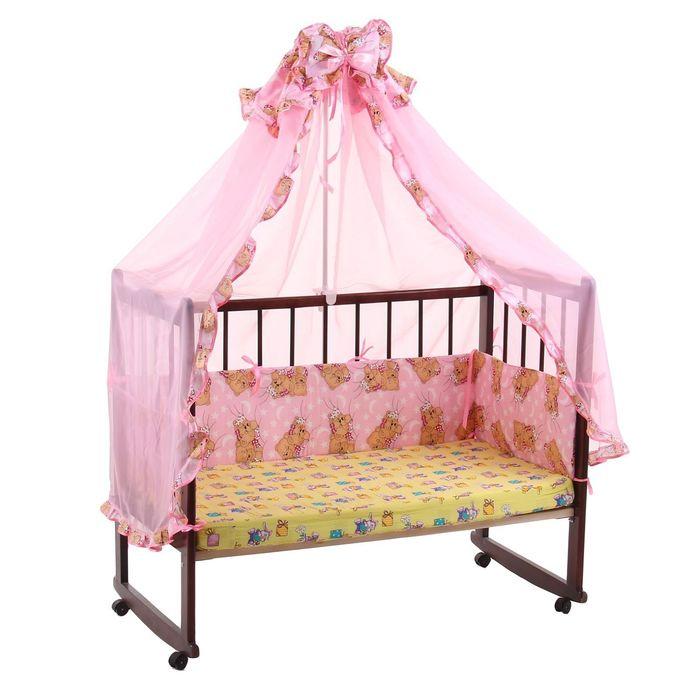 """Комплект в кроватку """"Спящие мишки"""" (2 предмета), цвет розовый (арт. 1542)"""
