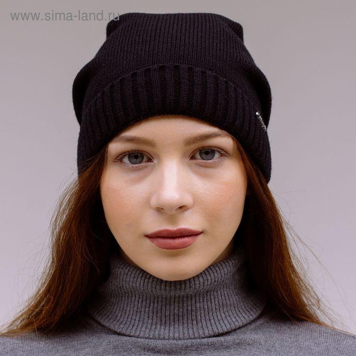 """Шапка женская """"ДАША"""" демисезонная, размер 56-58, цвет черный 150702"""
