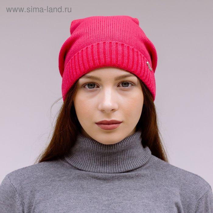 """Шапка женская """"ДАША"""" демисезонная, размер 56-58, цвет ярко-розовый 150711"""