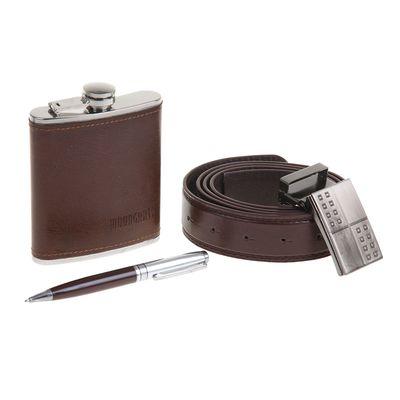 """Подарочный набор 3 в 1 """"Классика"""": фляжка 210 мл + ручка и ремень"""