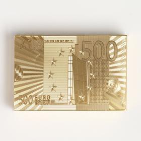 """Карты игральные пластиковые """"500 евро"""", 54 шт, 30 мкм, 8.7×5.7 см, золотистые, в шкатулке"""