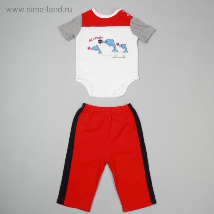 Комплект для мальчика: боди, штанишки, на 9 мес, рост 68-74 см