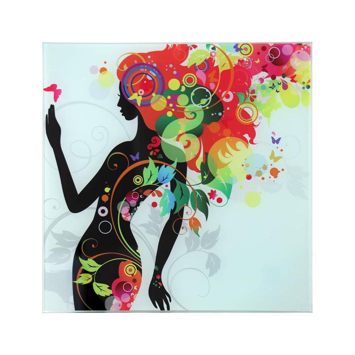 """Картина на стекле """"Девушка в цветах"""" листья"""