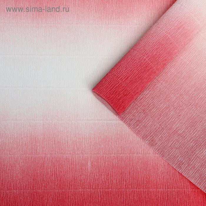 Бумага гофрированная 600/4 бело-розовая, 50 см х 2,5 м
