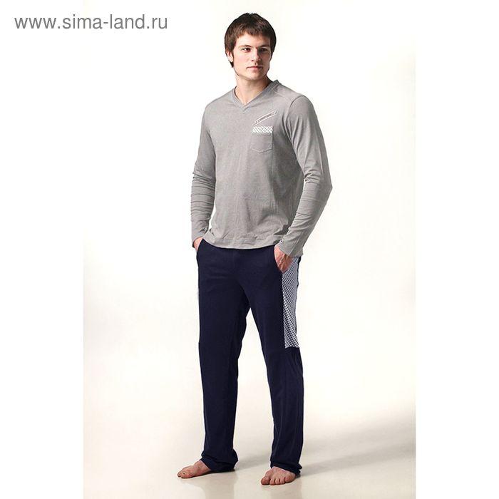 Пижама мужская (жакет, брюки) М-632/1-09 меланж/т.синий, р-р 56