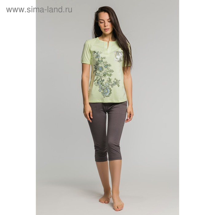 Комплект женский (футболка, бриджи) М-170-09 салат/серый, р-р 50