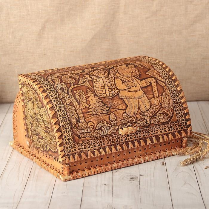 Хлебница «Маша и медведь», сложная, 32×18×26 см, береста