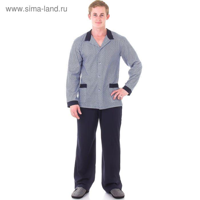 Пижама мужская (джемпер, брюки), размер 52(104), цвет серый/синий 121ХР1335