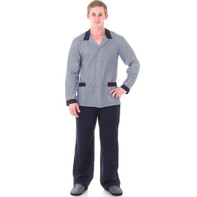 Пижама мужская (джемпер, брюки), размер 54 (108), цвет серый/синий 121ХР1335