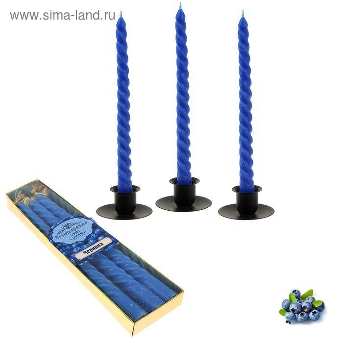 Свечи восковые витые (набор 3 шт), аромат черника