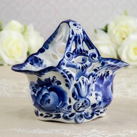 "The candy bowl ""Spring"", 21×13×18 cm, Gzhel"