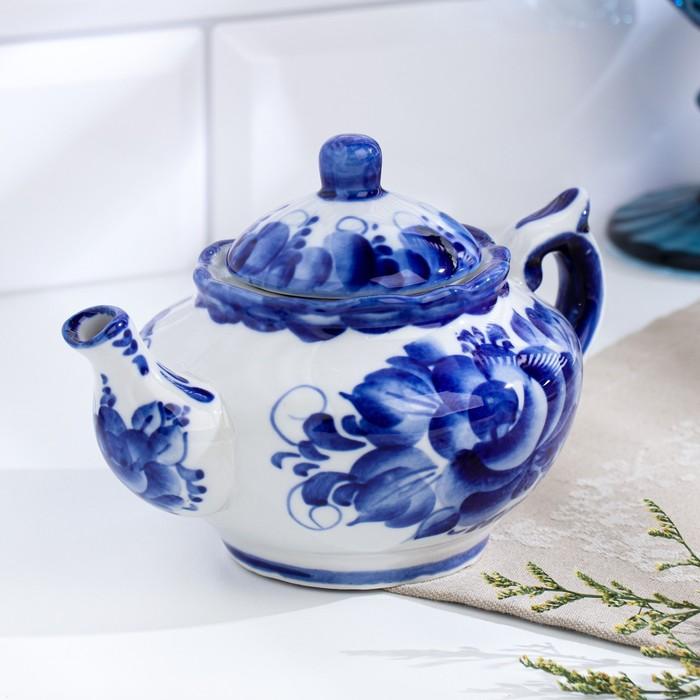 Чайник «Утро», 16×16×9 см, 300 мл, гжель