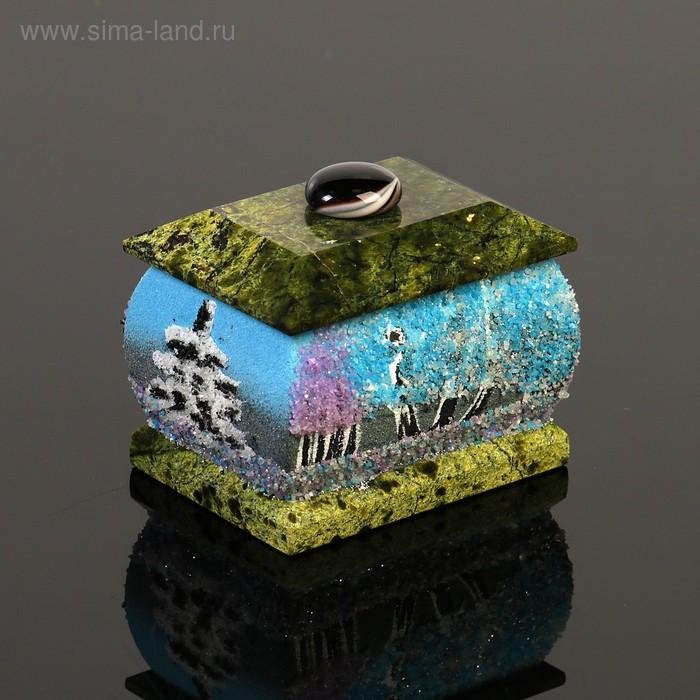 "Шкатулка ""Зима"", 5х7 см, каменная крошка, серпент"