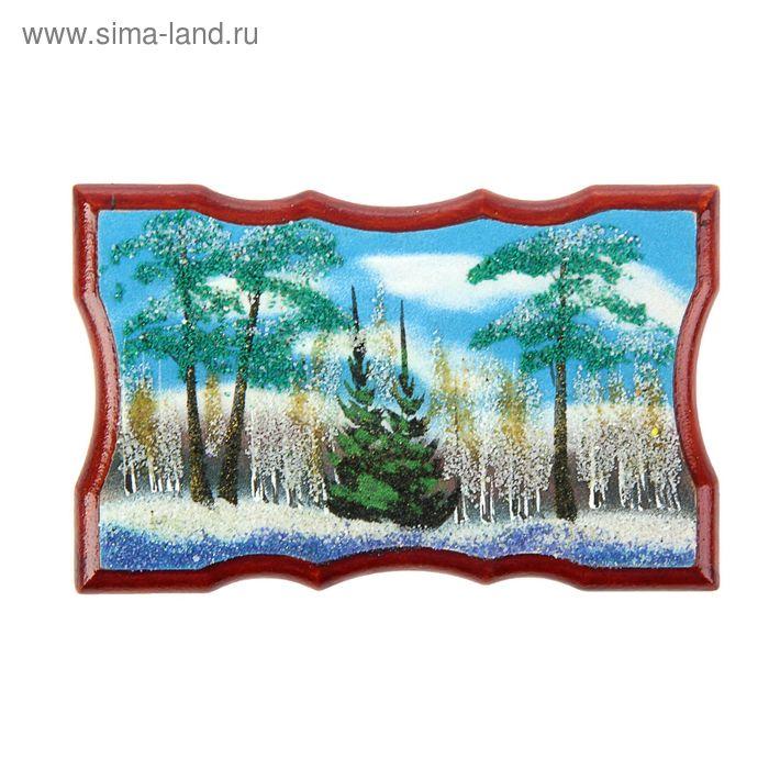 "Картина на фанере ""Зима"" 11,5х18х1 см, каменная крошка"