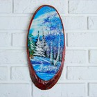 "The painting ""Winter"" on the cut wood 35 x 16 x 2 cm, crushed stone"