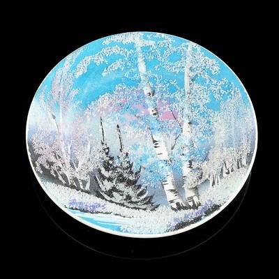"""Тарелка фарфоровая """"Зима"""", каменная крошка, D=18 см"""