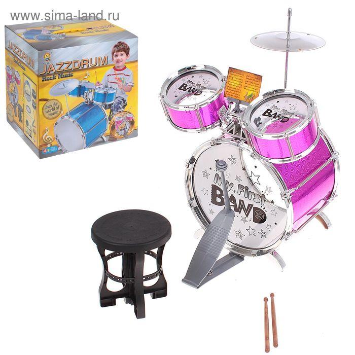 """Барабанная установка """"Моя первая группа"""", 3 барабана, стульчик, МИКС"""