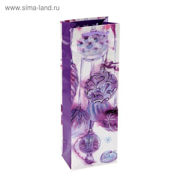 """Пакет подарочный под бутылку """"С Новым Годом и Рождеством"""" 12х36х8.5 см"""