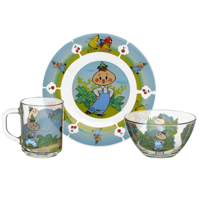 """Набор посуды детский """"Чиполлино"""", 3 предмета: кружка 200 мл, салатник 300 мл, тарелка 20 см"""