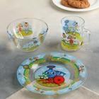 "Набор посуды детский ""Паравозик из Ромашково"", 3 предмета: кружка 200 мл, салатник 300 мл, тарелка 20 см"