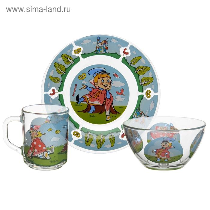 """Набор посуды детский """"Вовка в тридевятом царстве"""", 3 предмета: кружка 200 мл, салатник 300 мл, тарелка d=20 см"""