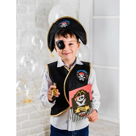 """Набор пирата """"Карамба"""", 6 предметов: шляпа, жилетка, наглазник, орден, подзорная труба, кодекс"""