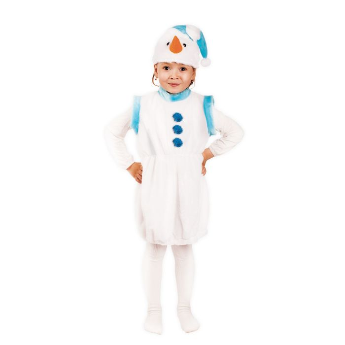 """Карнавальный костюм """"Снеговичок"""", 2 предмета: шапка, платье, 3-6 лет"""