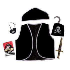 "A set of pirate ""Pirate"", 6 pieces: hat,vest,eye-patch,cutlass,hook,code"