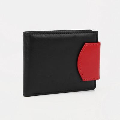 """Кошелёк женский на кнопке """"Кошки"""", 1 отдел, отдел для карт, чёрный/красный"""