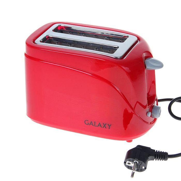 Тостер Galaxy GL 2902, 800 Вт, 6 режимов прожарки, 2 тоста, красный