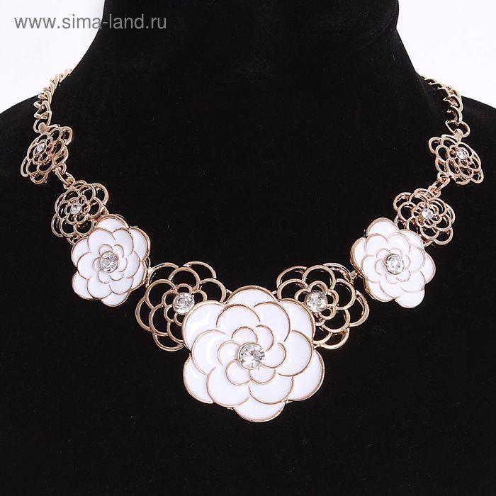 """Колье """"Цветочный букет"""", розы, цвет белый в золоте, 45 см"""