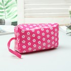 Cosmetic bag road, division zipper, with handle, color raspberry