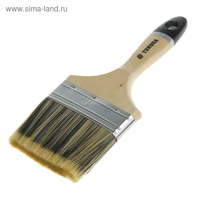 """Кисть плоская TUNDRA premium, искусственная щетина, деревянная ручка 4"""" (100 мм)"""