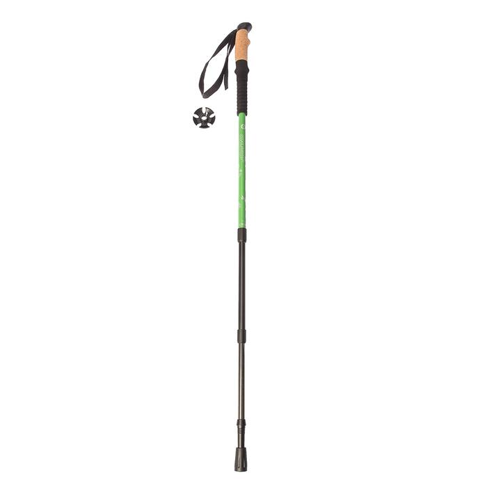 Палка для скандинавской ходьбы телескопич, 3-х секц, до 110 см (1шт), цвет зелёный