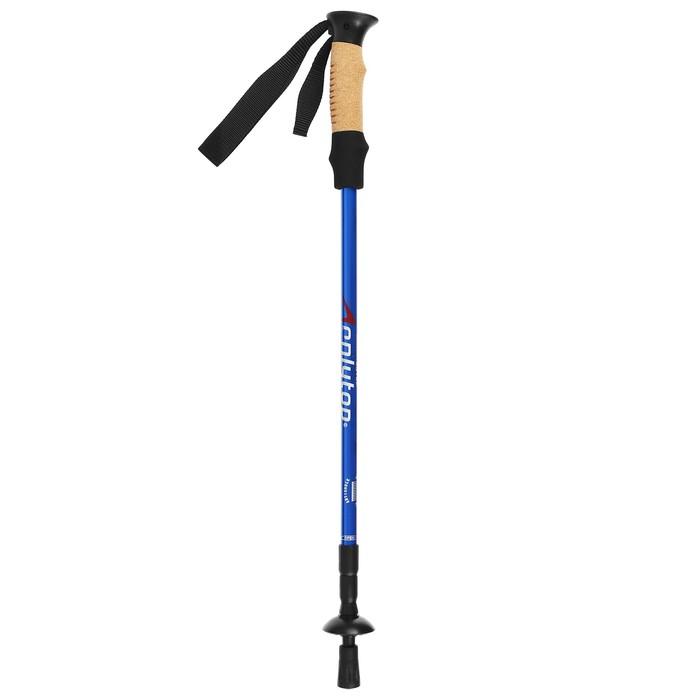 Палка для скандинавской ходьбы телескопическая, 3-х секционная,материал алюминий, до 135см, цвет чёрно-синий